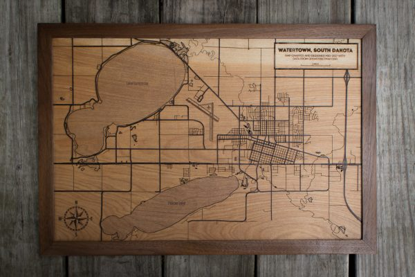 Expanded, full-width view of laser etched Map of Watertown, SD.